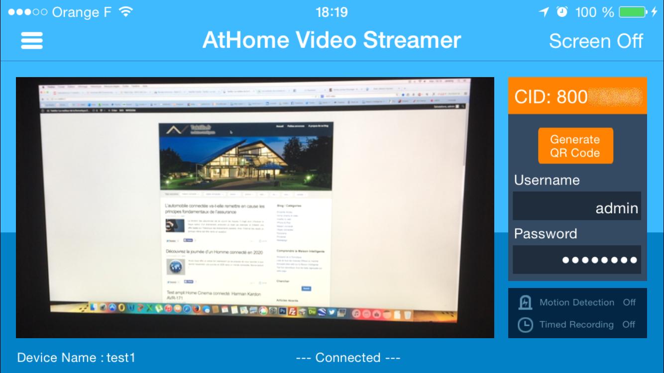 AtHome Video Server iPhone caméra