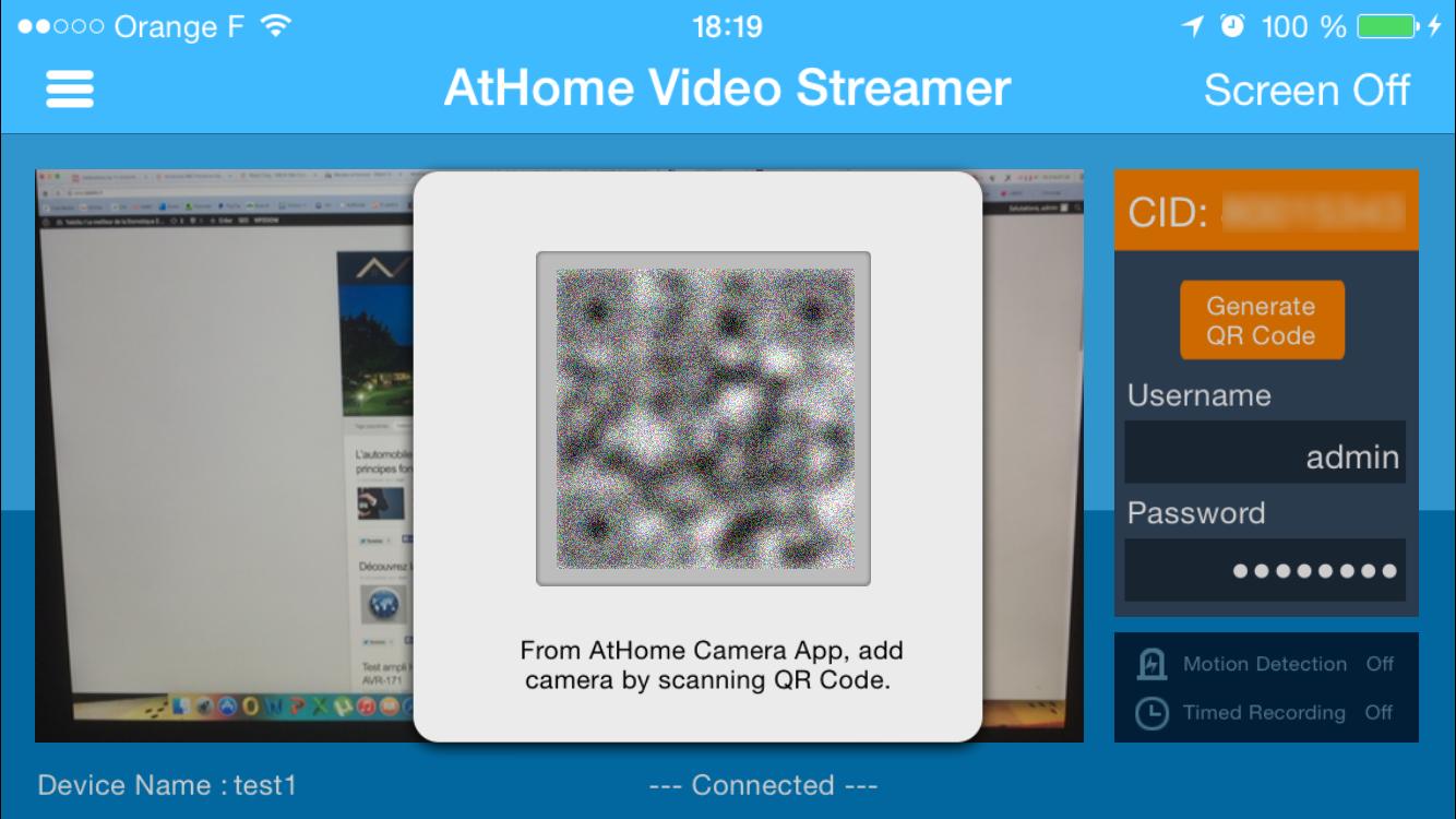 AtHome Video Server 2 iPhone caméra